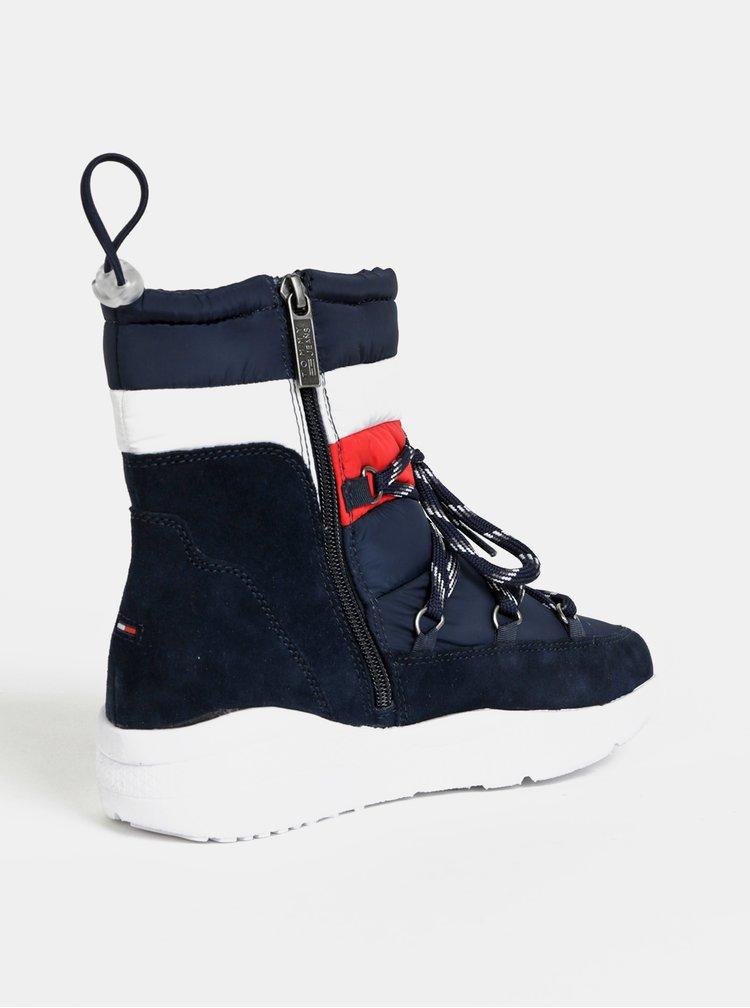 Tmavě modré dámské zimní kotníkové boty se semišovými detaily Tommy Hilfiger