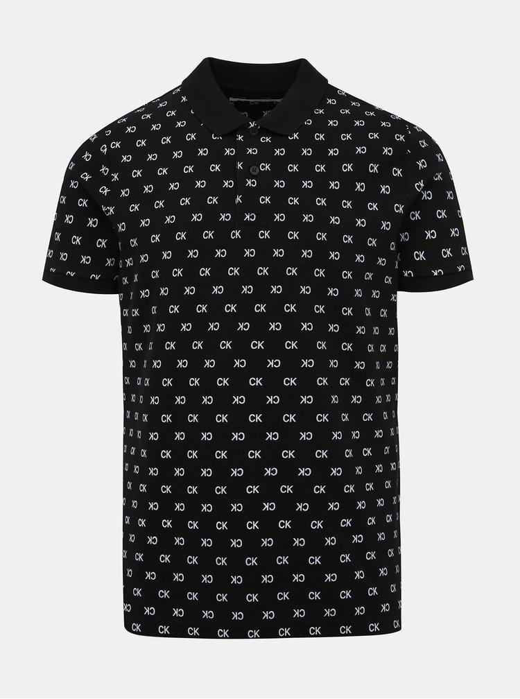 Čierna pánska polokošeľa s potlačou Calvin Klein Jeans