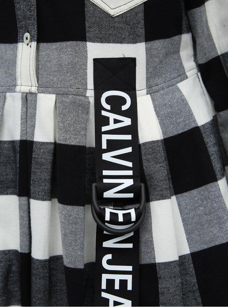 Čierno-biele kockované košeľové maxišaty Calvin Klein Jeans Western