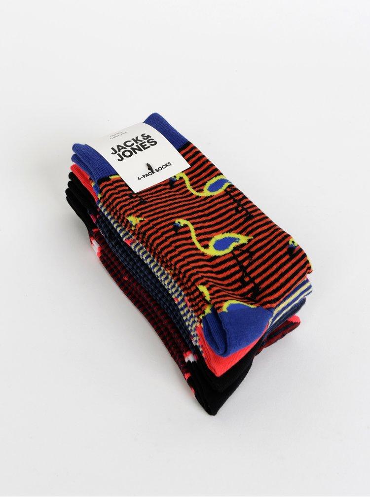 Sada čtyř párů vzorovaných ponožek v modré a červené barvě Jack & Jones Stripe