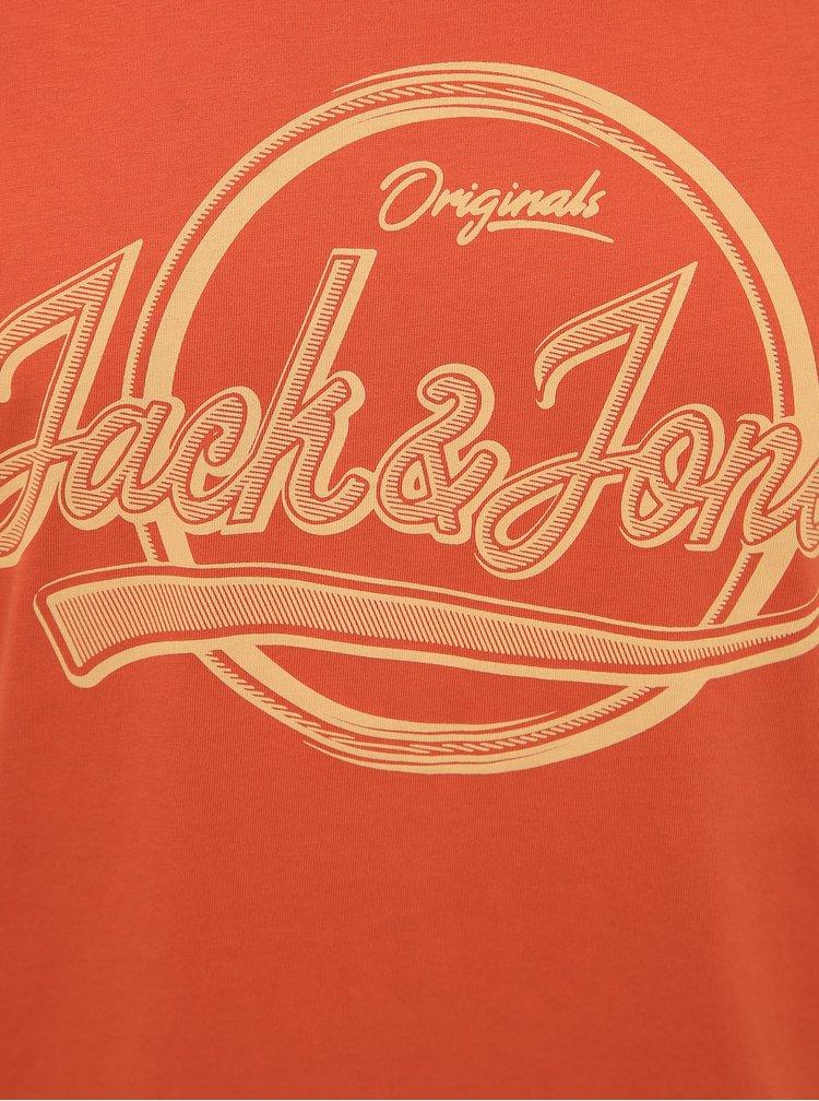 Oranžové tričko s potiskem Jack & Jones Brad