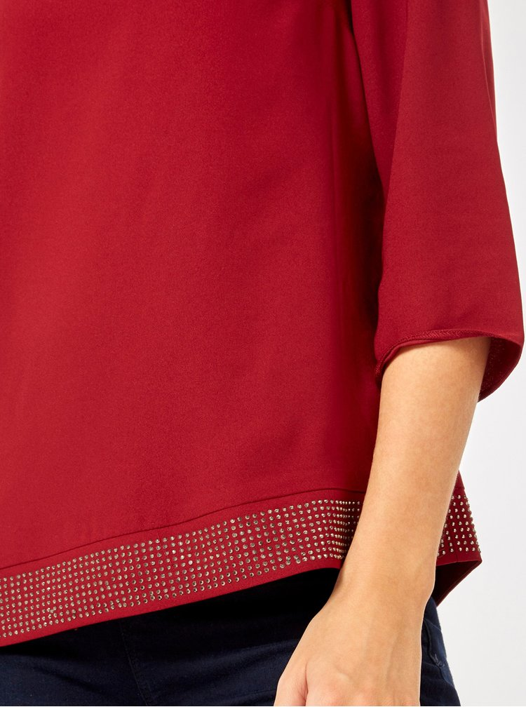 Bluza bordo cu maneci 3/4 si pietre decorative Dorothy Perkins