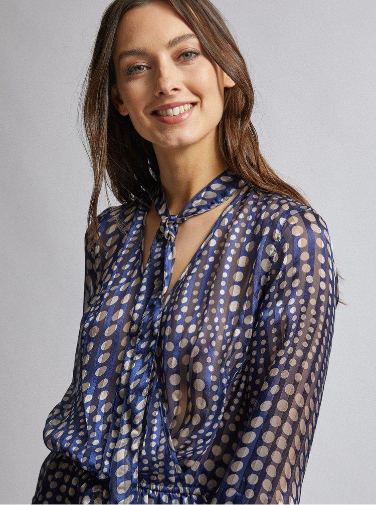 Tmavomodrá bodkovaná priesvitná blúzka Dorothy Perkins