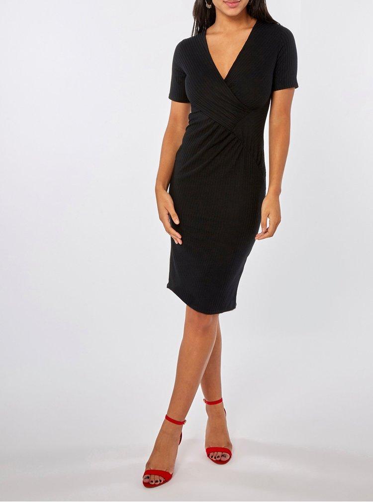 Čierne puzdrové rebrované šaty s prekladaným výstrihom Dorothy Perkins
