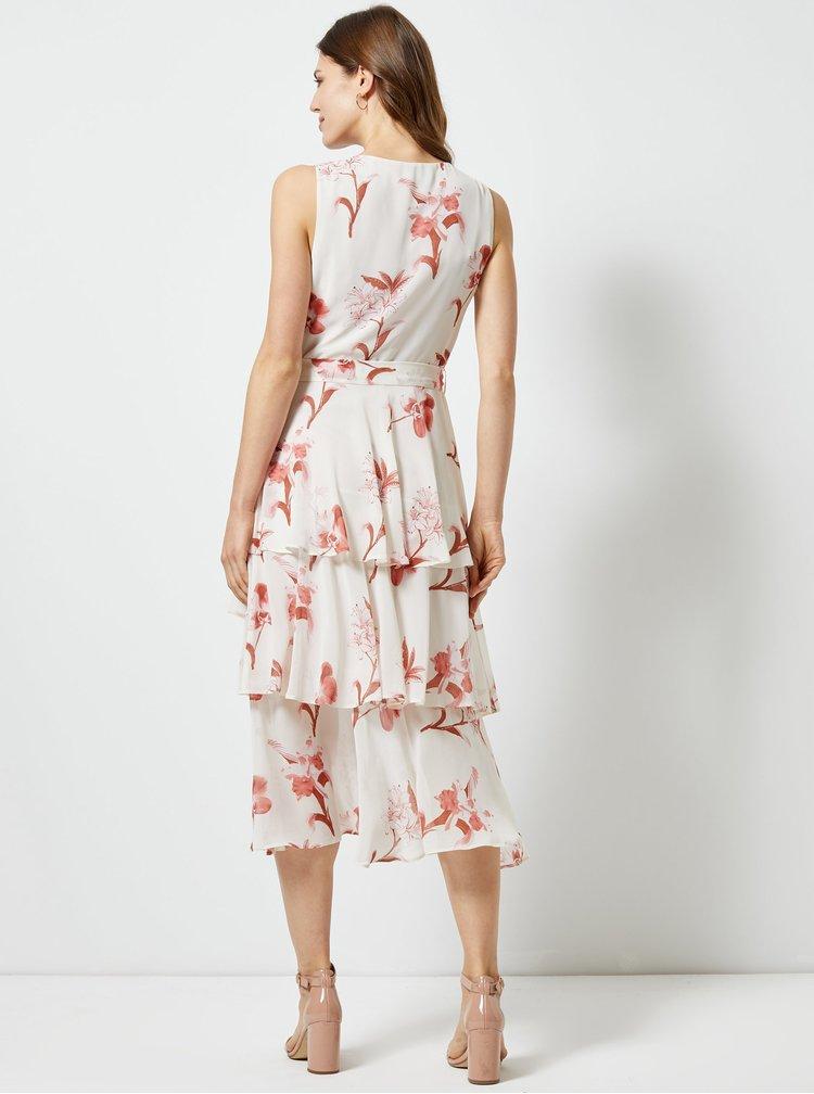 Ružovo-biele kvetované midišaty Dorothy Perkins
