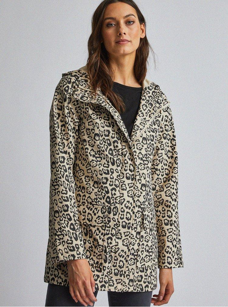 Béžová voděodolná bunda s leopardím vzorem Dorothy Perkins