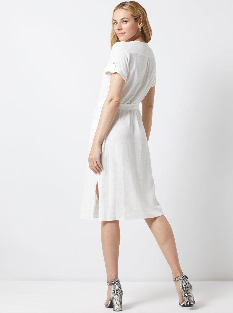 Krémové šaty s příměsí lnu Dorothy Perkins