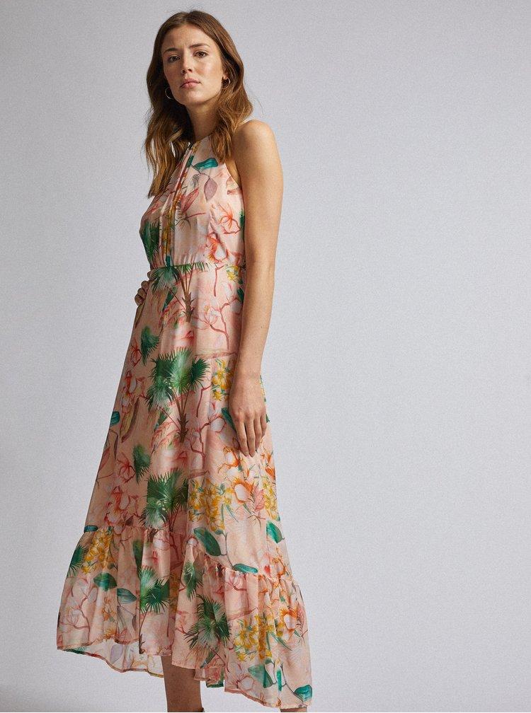 Marhuľové kvetované maxišaty Dorothy Perkins