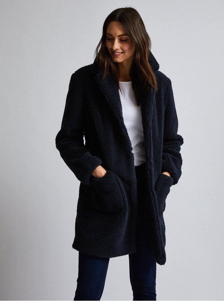 Tmavě modrý kabát z umělé kožešiny Dorothy Perkins