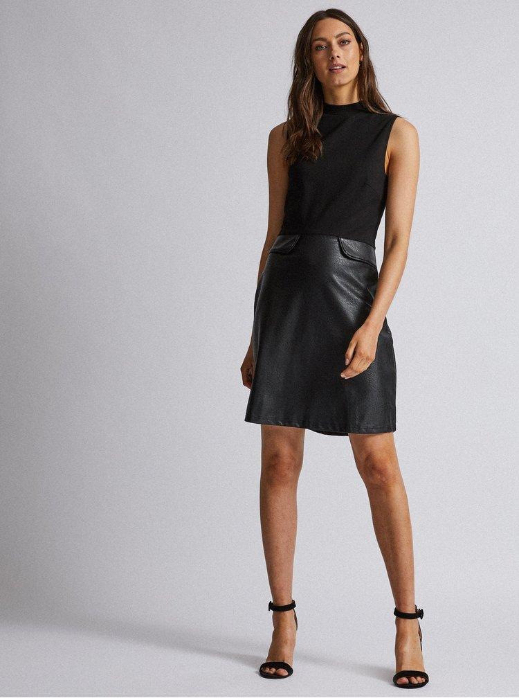 Čierne šaty s koženkovou sukňou Dorothy Perkins