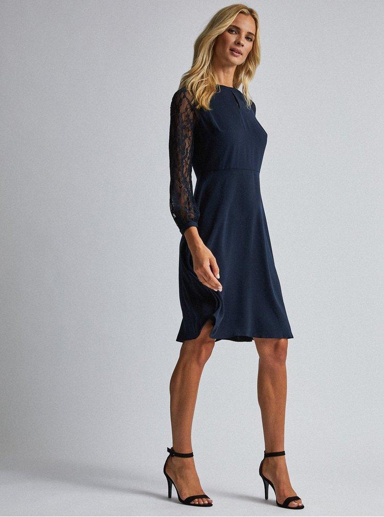 Tmavomodré šaty s krajkou Dorothy Perkins