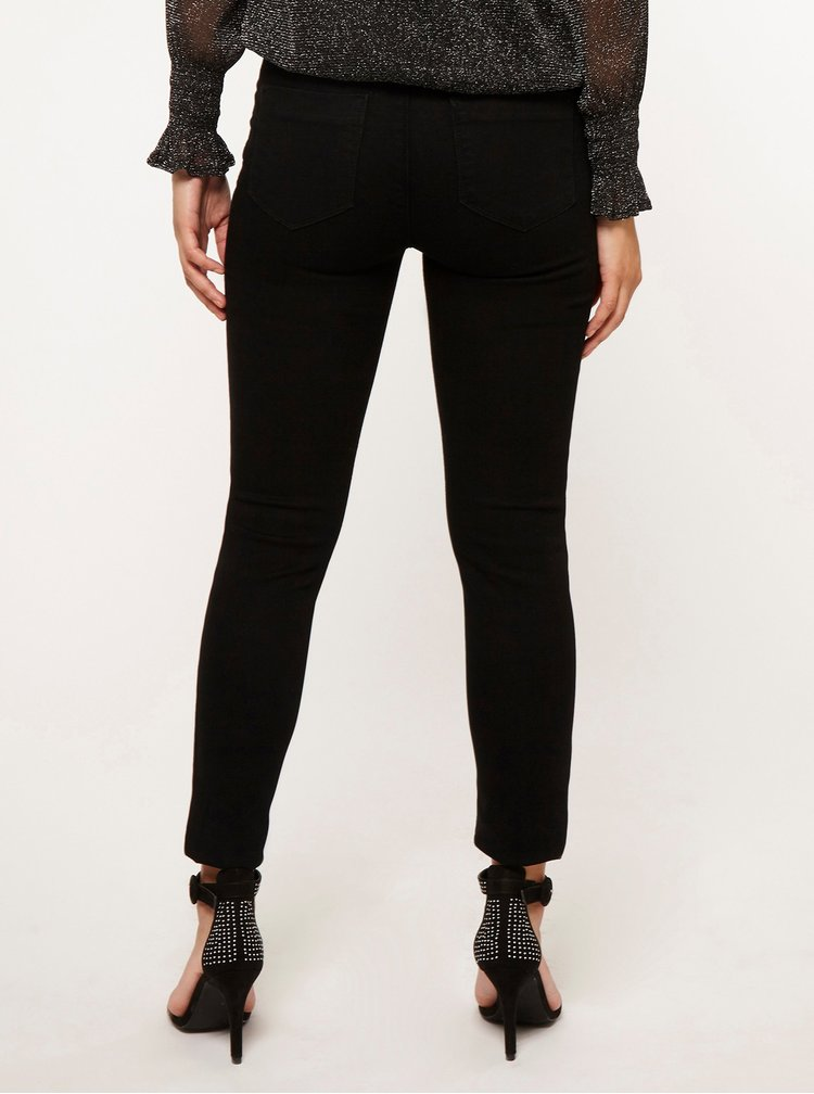 Černé džíny s vysokým pasem Dorothy Perkins Petite Frankie