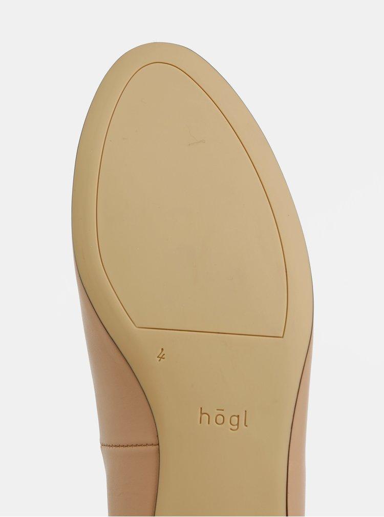 Béžové kožené baleríny Högl