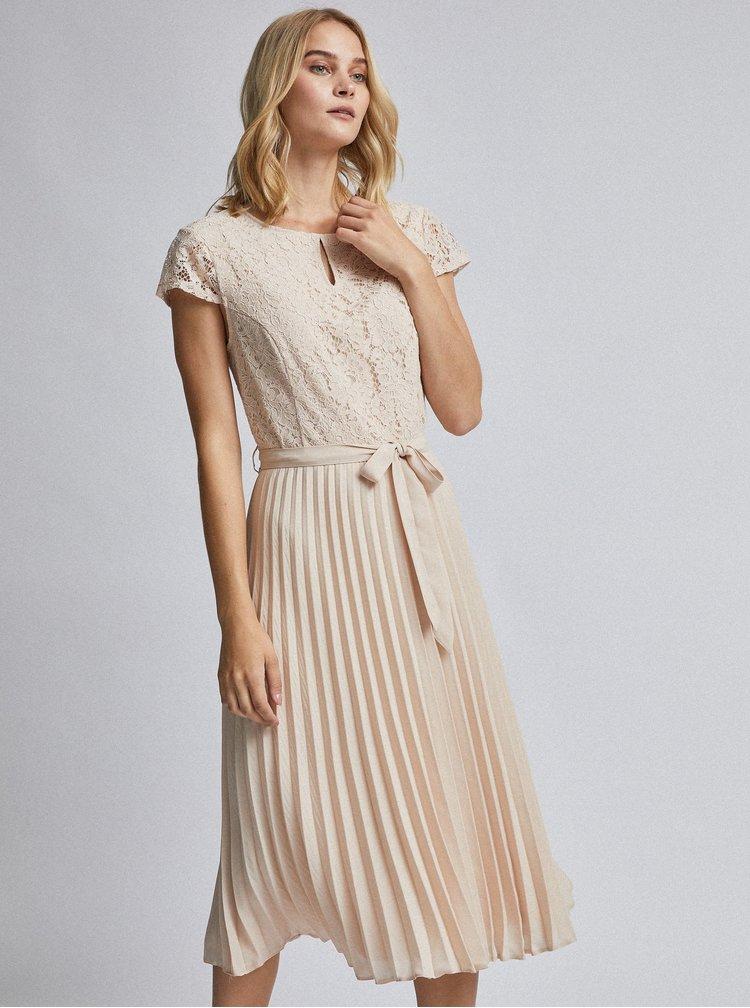 Béžové midišaty s plisovanou sukní a průstřihem v dekoltu Dorothy Perkins