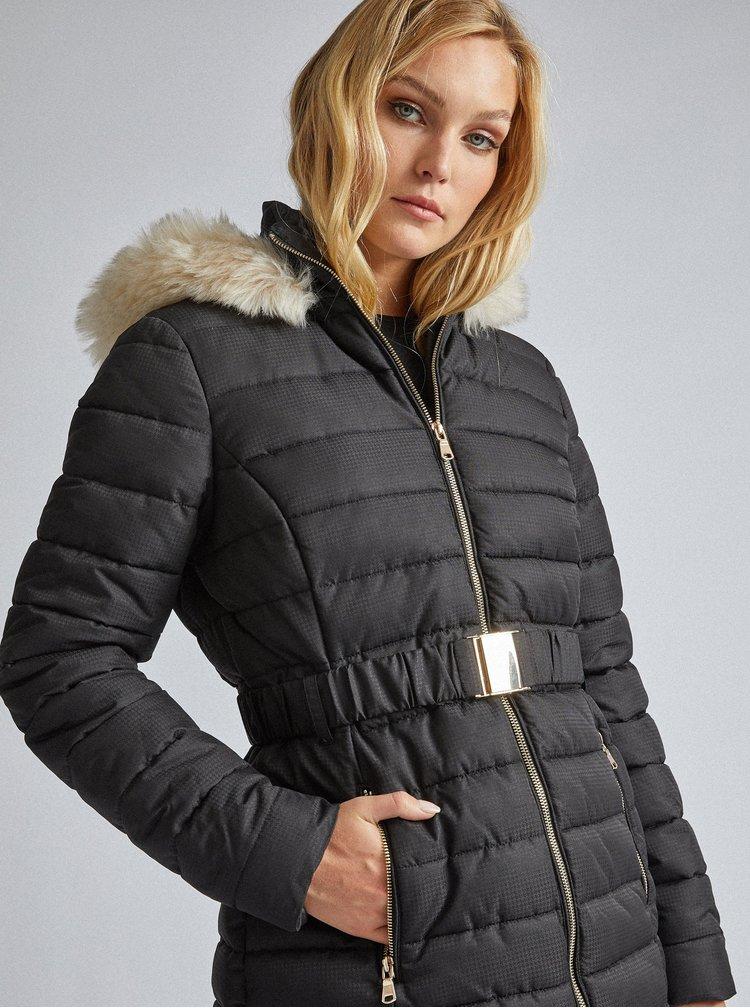Černý vzorovaný prošívaný zimní kabát Dorothy Perkins Tall