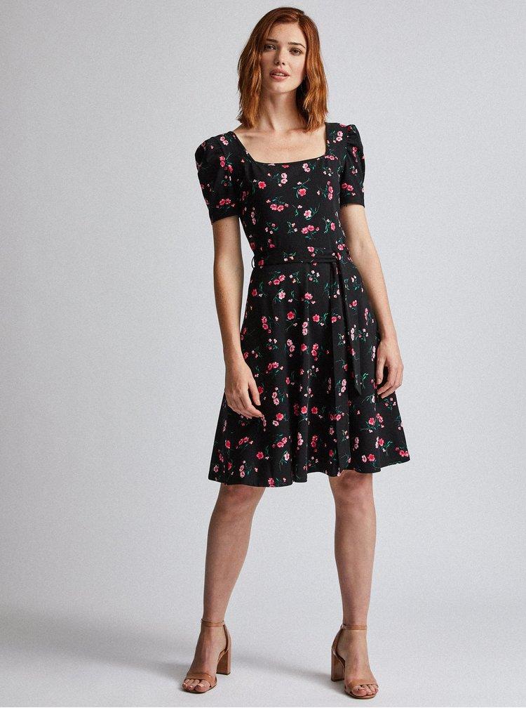 Čierne kvetované šaty Dorothy Perkins Tall