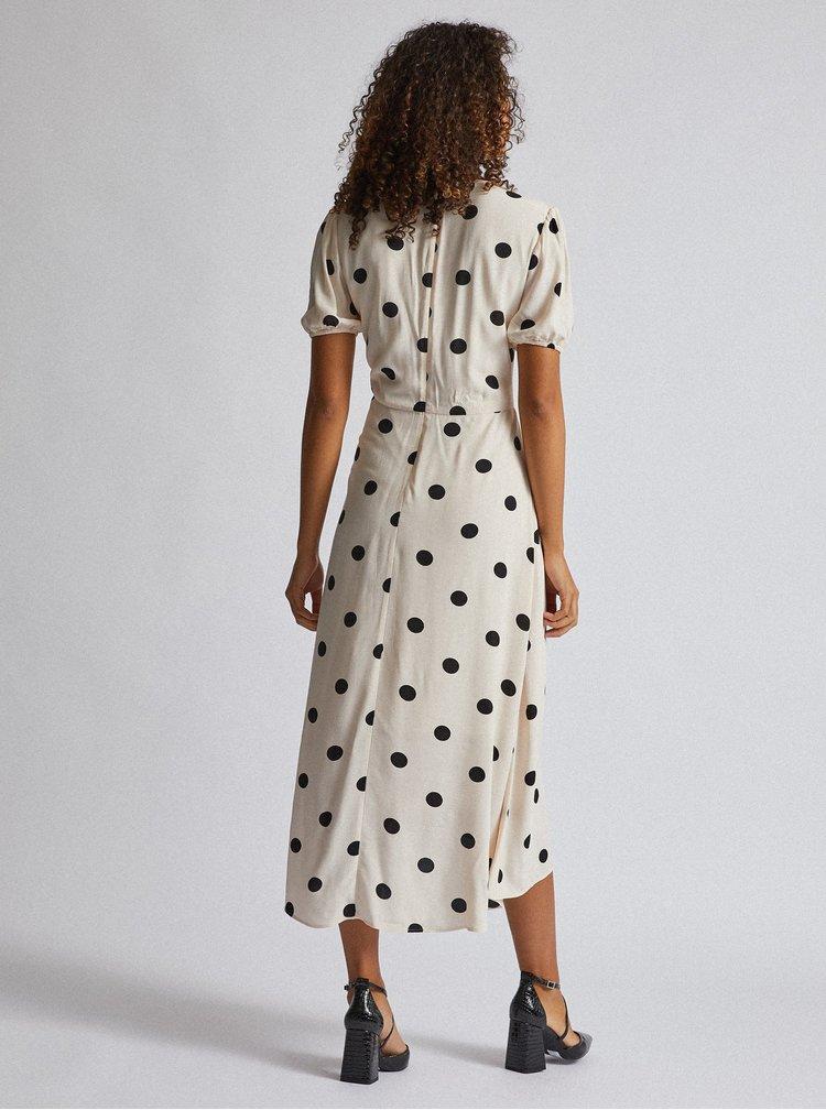 Krémové bodkované midi šaty Dorothy Perkins Tall