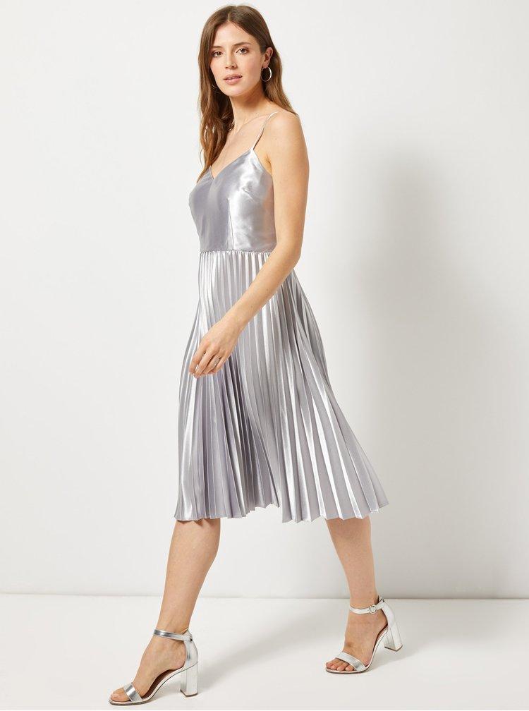 Plisované šaty ve stříbrné barvě Dorothy Perkins