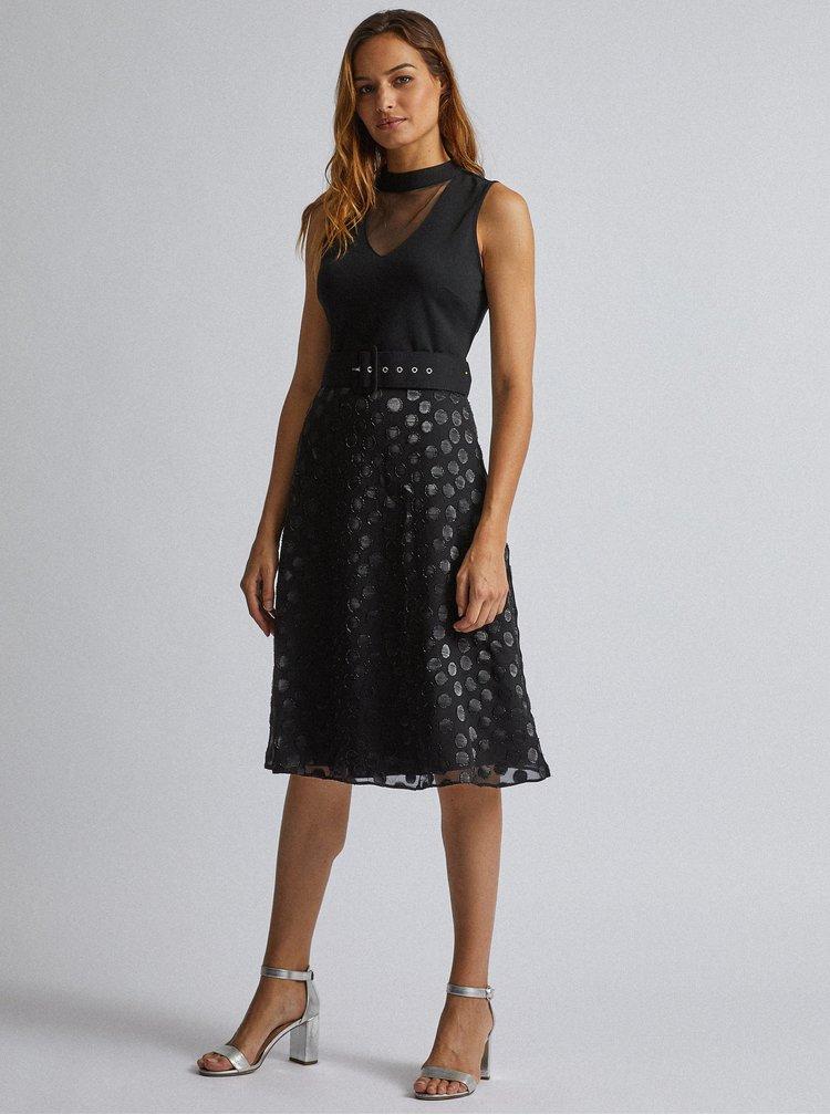 Černé midi šaty s puntíkovanou sukní Dorothy Perkins