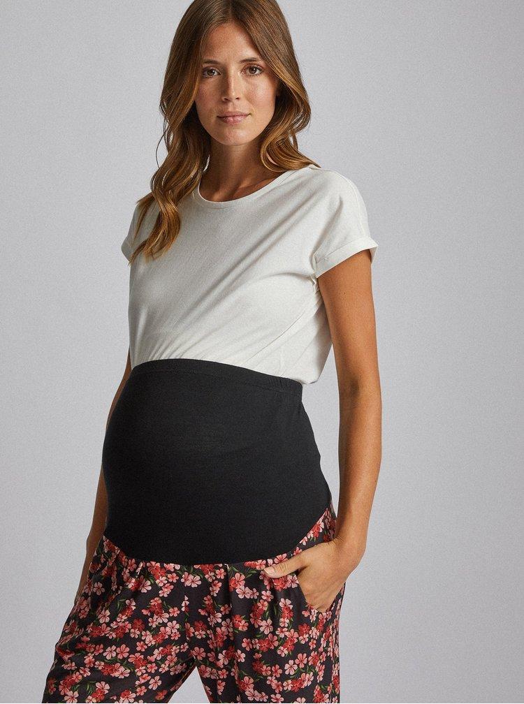 Červeno-čierne kvetované tehotenské tepláky Dorothy Perkins Maternity