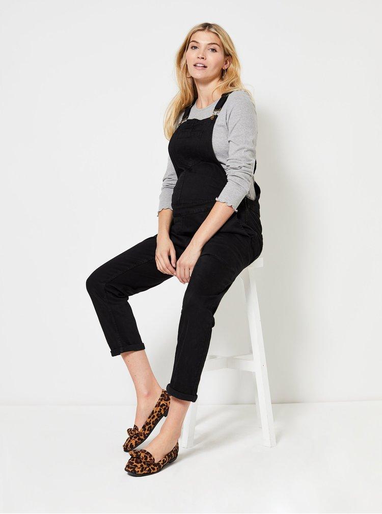 Čiern rifľové tehotenské nohavice na traky Dorothy Perkins Maternity
