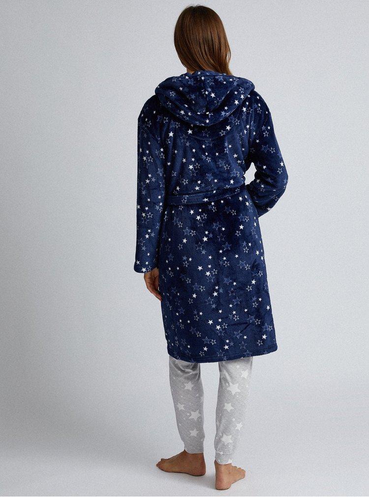 Tmavě modrý vzorovaný župan Dorothy Perkins