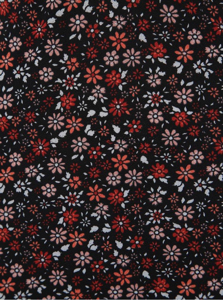 Červeno-černé květované maxišaty Miss Selfridge