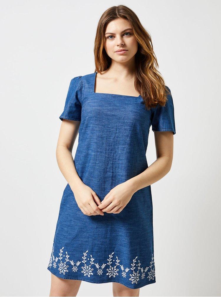 Modré rifľové šaty s výšivkou Dorothy Perkins