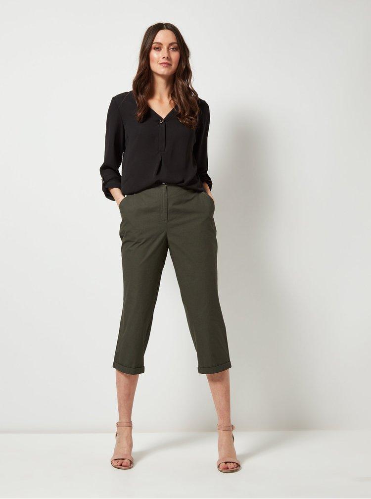 Tmavozelené skrátené nohavice Dorothy Perkins