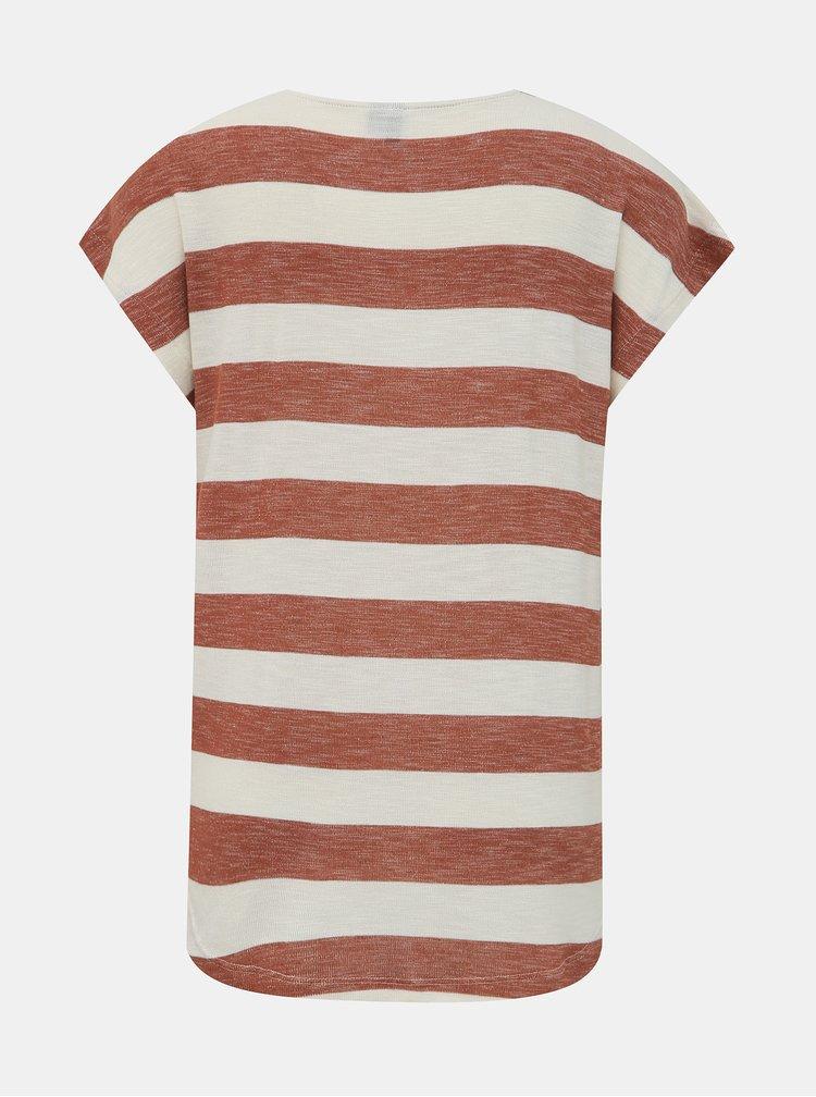 Tricouri basic pentru femei VERO MODA - maro, crem