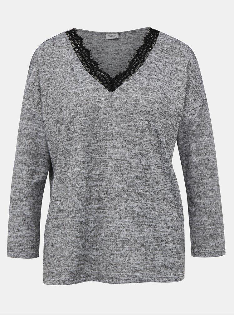 Šedý svetr s krajkou Jacqueline de Yong Choice