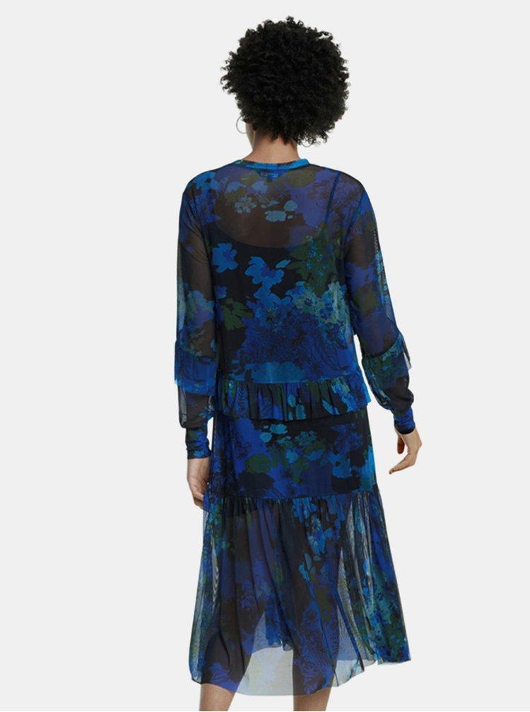 Modré květované midišaty Desigual