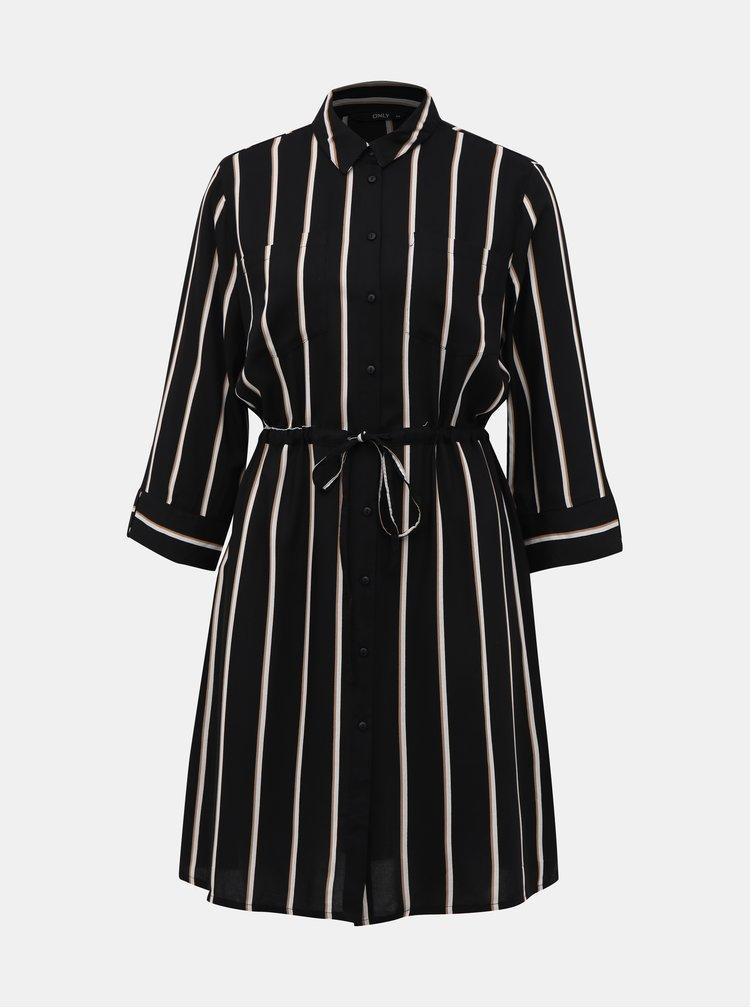 Černé pruhované košilové šaty ONLY Tamari