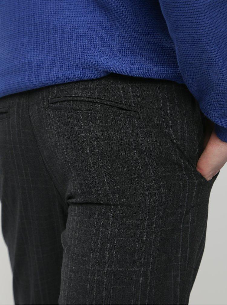 Tmavě šedé kostkované chino kalhoty Selected Homme Storm