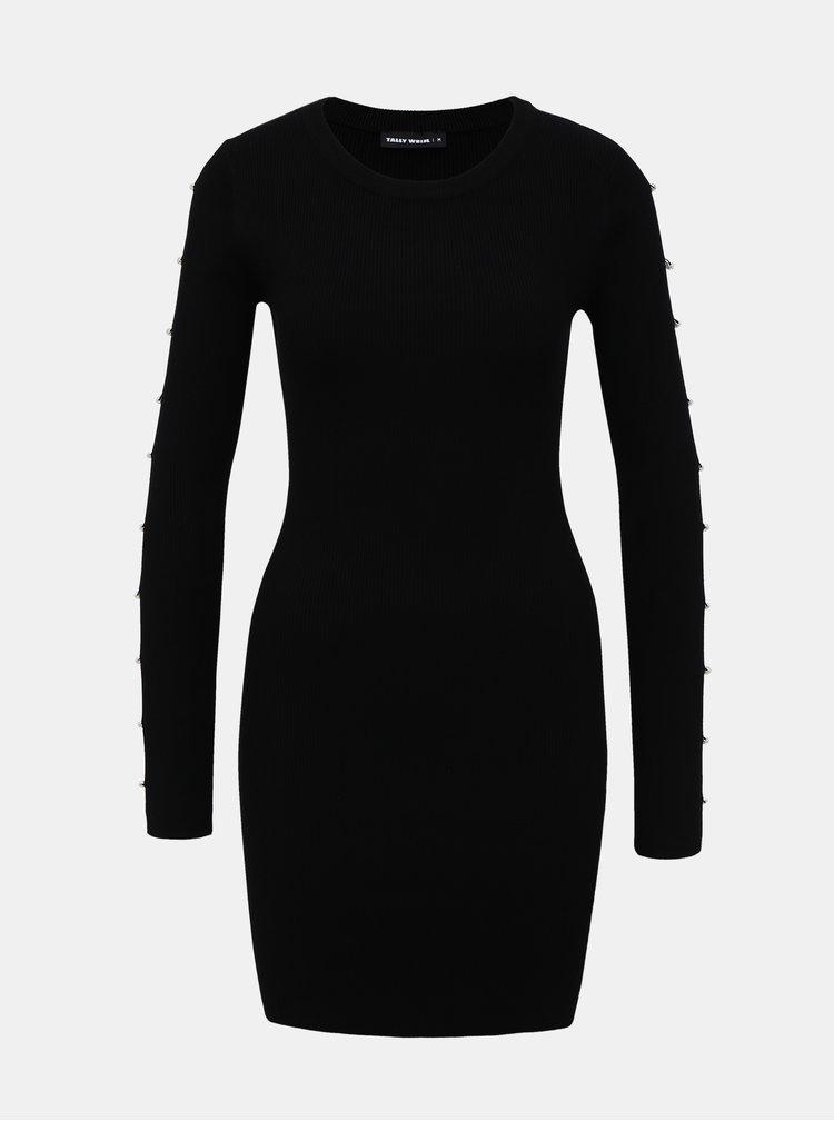 Čierne púzdrové svetrové šaty TALLY WEiJL Delta