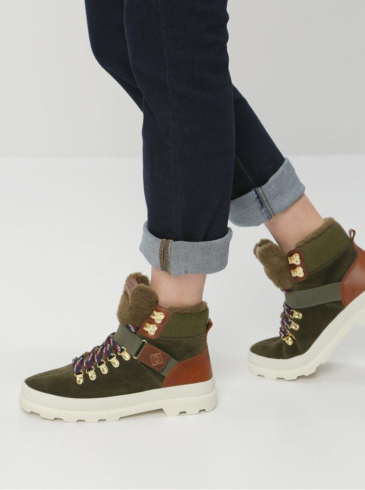Zelené dámské semišové kotníkové zimní boty s vlněnou podšívkou GANT Westport