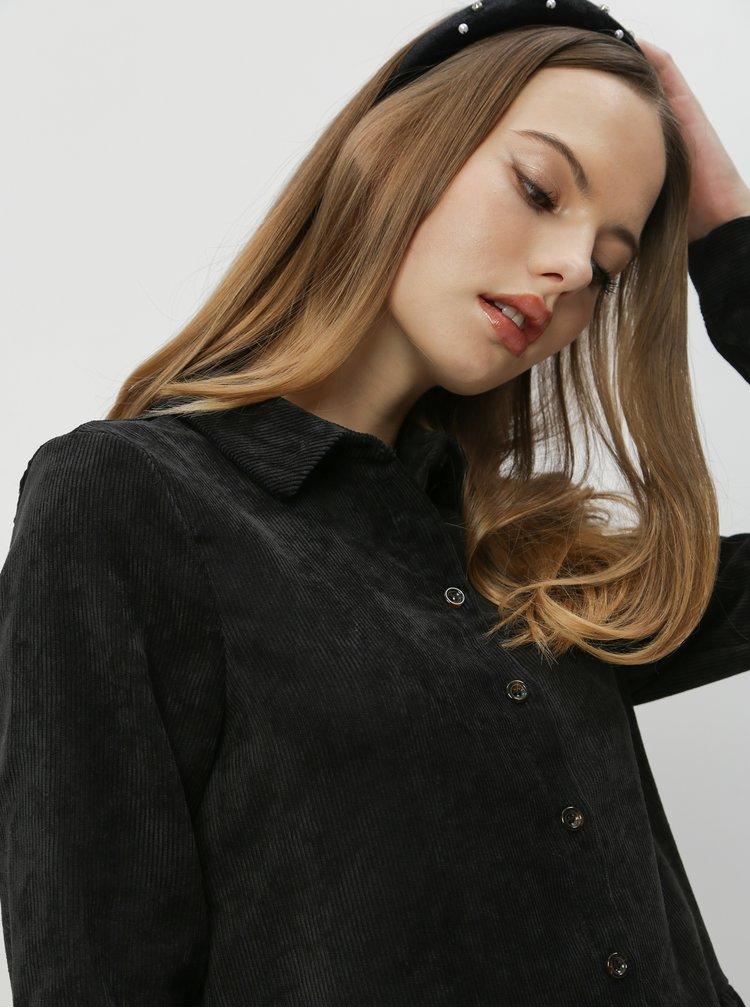 Černé manšestrové košilové šaty VERO MODA Kennedy