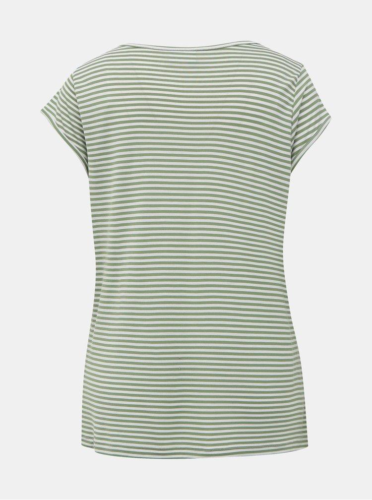 Zelené pruhované basic tričko VILA Coop
