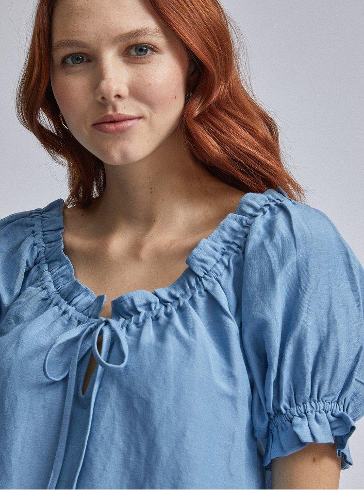 Modrá lněná halenka Dorothy Perkins