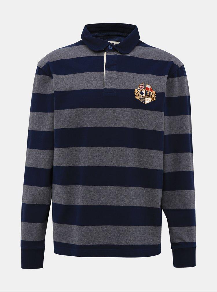 Tricouri polo pentru barbati Raging Bull - albastru inchis, gri