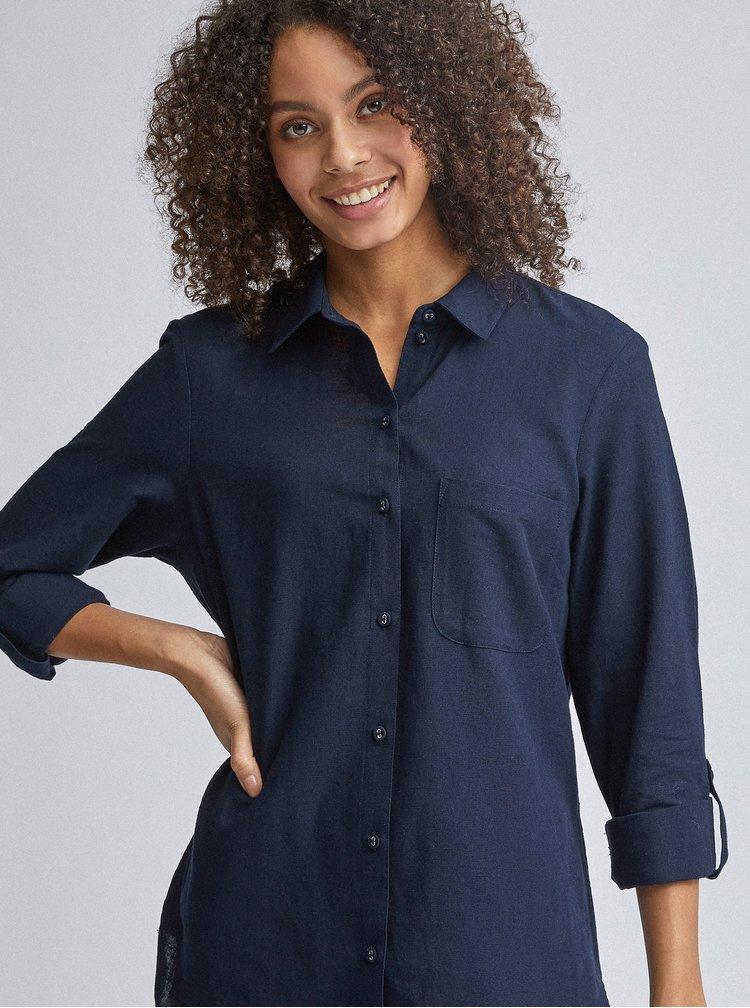 Tmavě modrá košile s příměsí lnu Dorothy Perkins