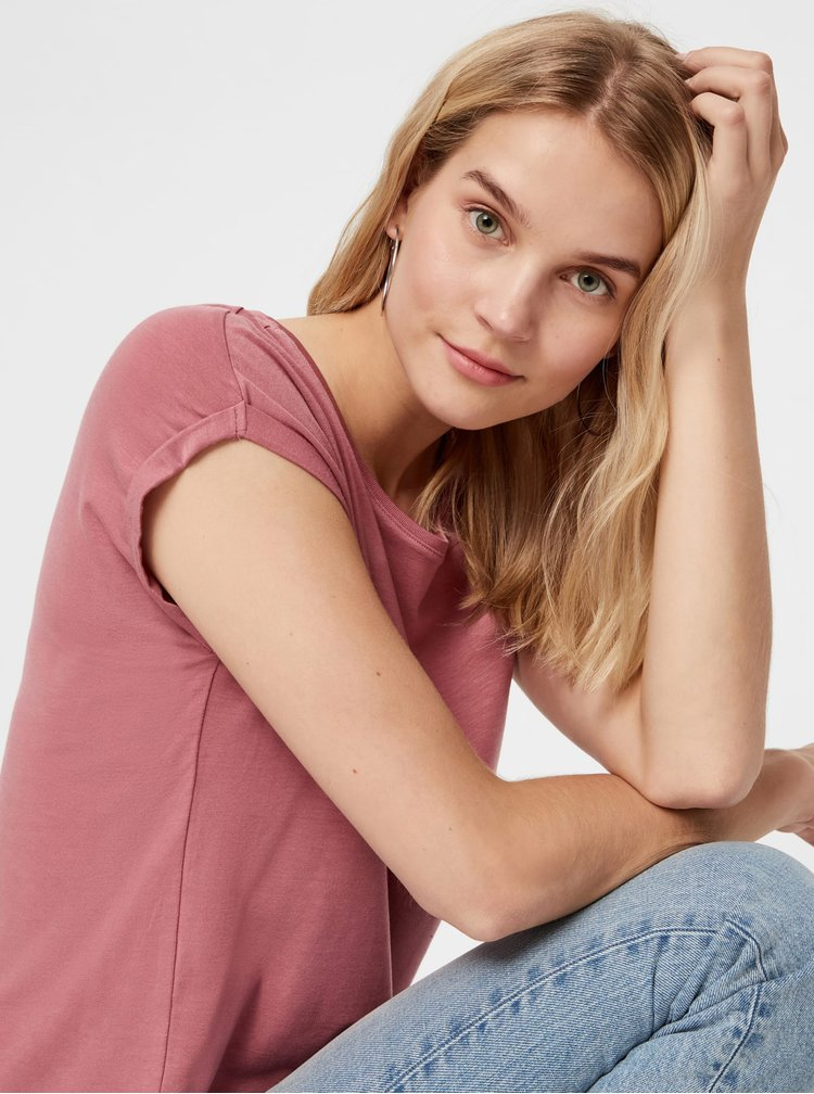 Starorůžové basic tričko AWARE by VERO MODA Ava