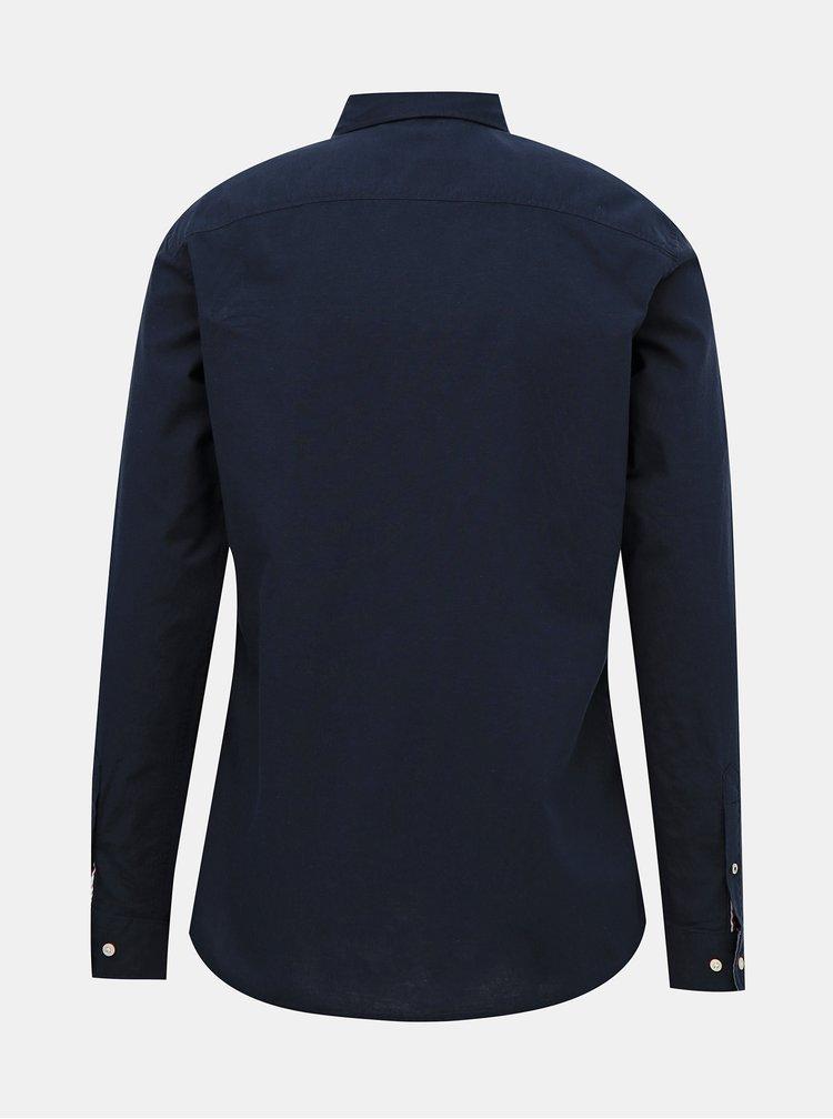 Tmavě modrá košile s příměsí lnu Jack & Jones Summer