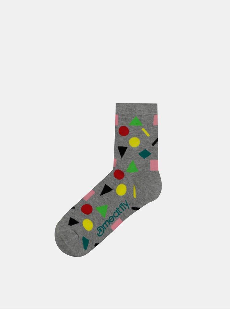 Sada tří párů dámských vzorovaných ponožek v černé, šedé a zelené barvě Meatfly