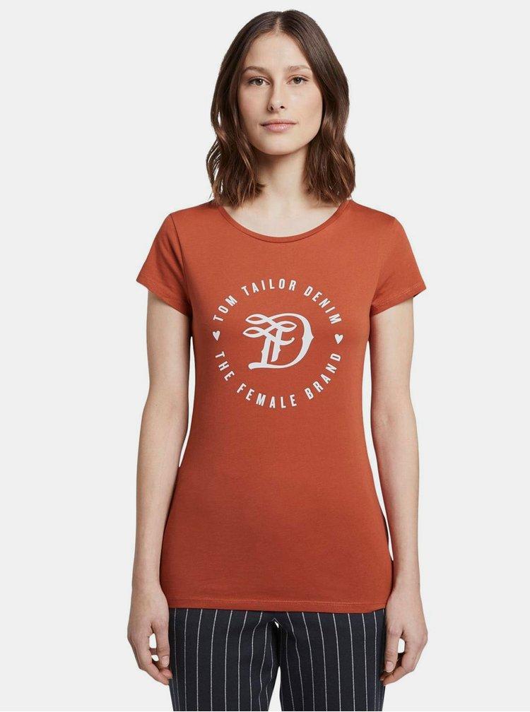Cihlové dámské tričko s potiskem Tom Tailor Denim
