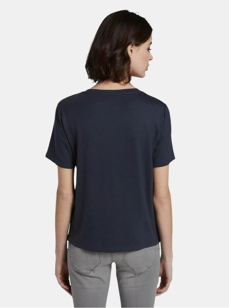 Tmavomodré dámske tričko s potlačou Tom Tailor