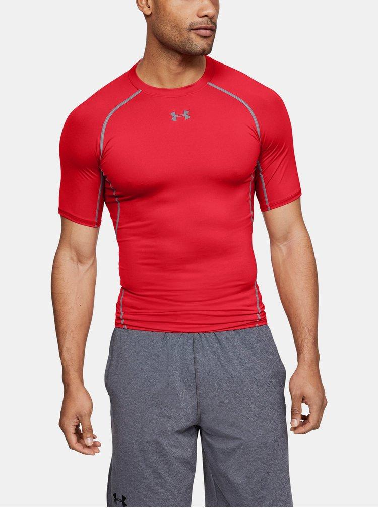 Šedo-červené pánské funkční tričko s krátkým rukávem Under Armour