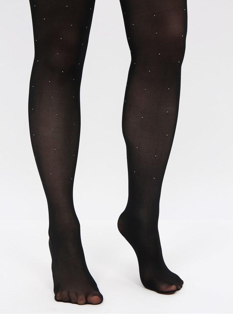 Černé punčochové kalhoty s ozdobnými detaily TALLY WEiJL Rassy