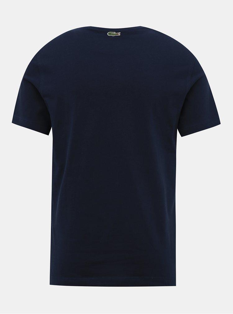 Tmavě modré pánské tričko s potiskem Lacoste
