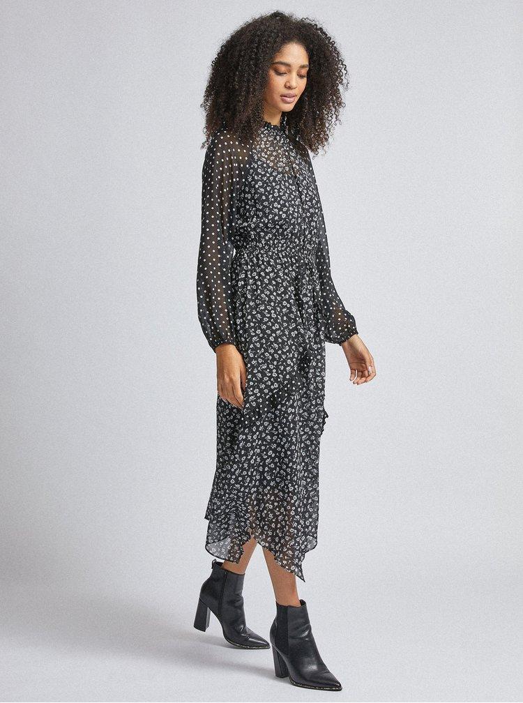 Černé vzorované midi šaty Dorothy Perkins